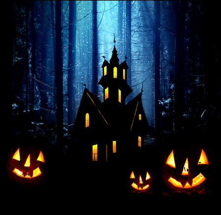 Halloween. Night. Moonlight, Castle and  pumpkins. Abstraction collage Stock Photo - 15574271