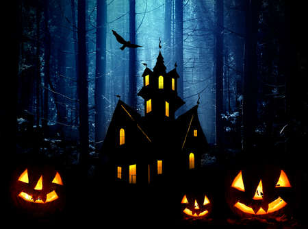 Halloween. Night. Moonlight, Castle and  pumpkins. Abstraction collage