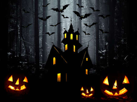 Halloween. Night. Moon, castle and bats. Abstraction collage Stock Photo - 15574267