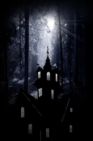 Halloween. Night. Moonlight and castle . Abstraction collage photo