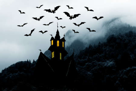 Halloween. Night. Moon, castle and bats. Abstraction collage Stock Photo - 15574264