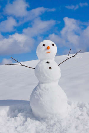 frosty the snowman: Snow man on nature in sunny cold day Stock Photo