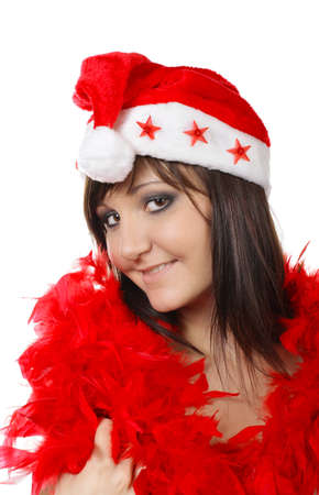 Charming young woman in santa cap. Fashion studio portrait Stock Photo - 16014416