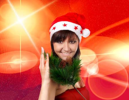 congratulatory: Charming young woman in santa cap, congratulatory card