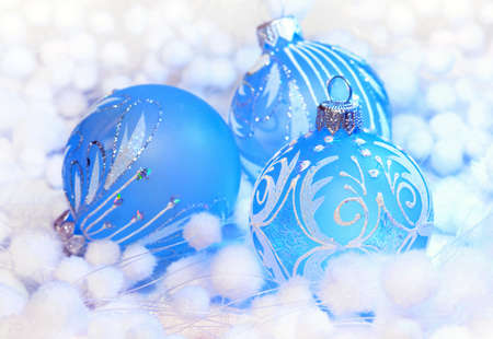 Christmas decoration blue ball, background for holidays card  photo