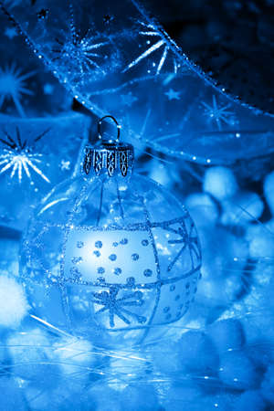 Christmas decoration in neon light, background for holidays card and cover Stock Photo - 16347298