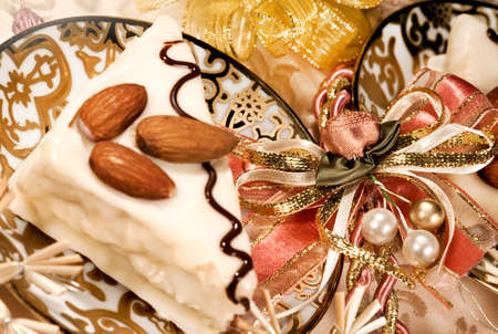 Tasty pie for dessert on a holiday and Christmas decor photo