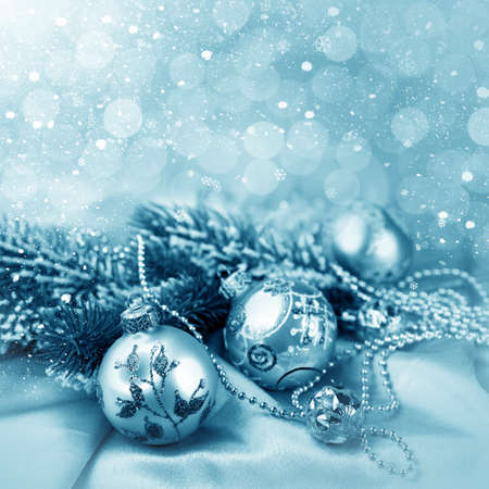 Christmas decorations and snow for design postcard photo