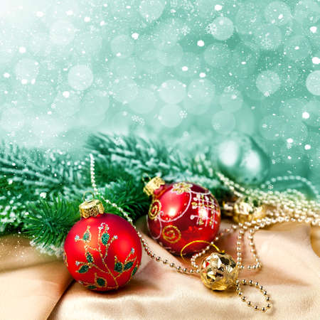 Christmas decorations and snow for design postcard Stock Photo - 16539256