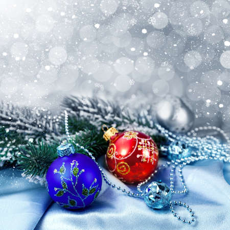 Christmas decorations and snow for design postcard Stock Photo - 16539259