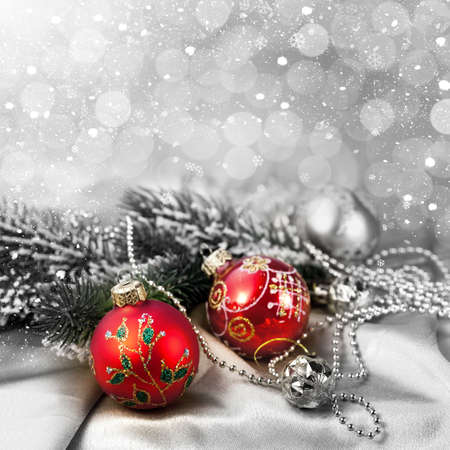 Christmas decorations and snow for design postcard Stock Photo - 16539219