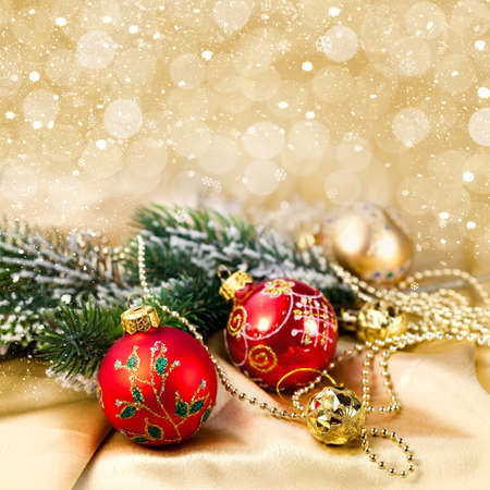Christmas decorations and snow for design postcard Stock Photo - 16539258