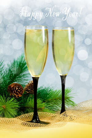Christmas tree and champagne in two glasses Stock Photo - 16539207