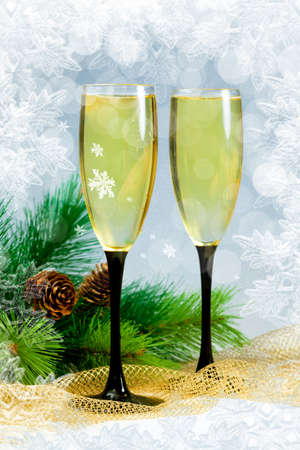 Christmas tree and champagne in two glasses Stock Photo - 16539305