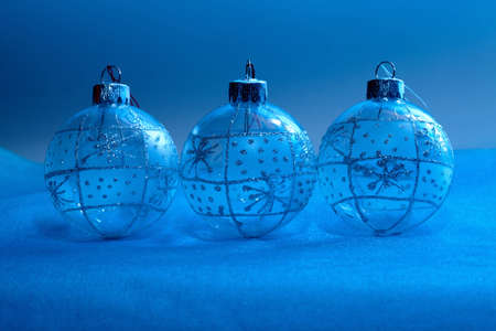 Christmas balls in neon light for design celebratory postcards Stock Photo - 16539085