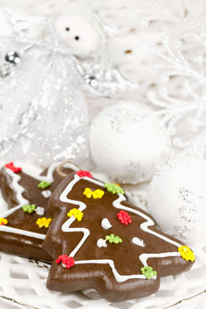 Christmas gingerbreads  on a holiday and Christmas decor photo