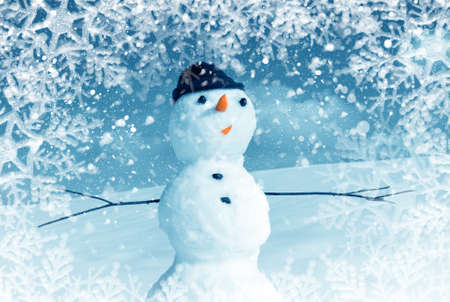 Snow man in santa cap on nature in sunny cold day Stock Photo - 16690652