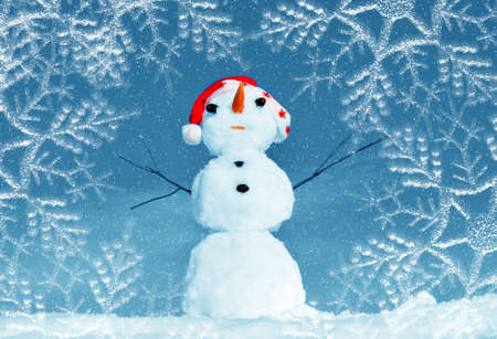 Snow man in santa cap on nature in sunny cold day Stock Photo - 16690655