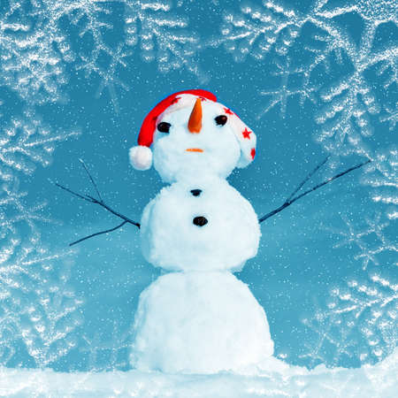 Snow man in santa cap on nature in sunny cold day Stock Photo - 16690641