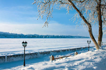Winter landscape in city, park and alley, Russia Stock Photo - 16872524
