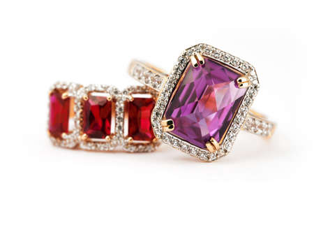 jewelle: Jewelry accessories pair of ring with amethyst and ruby