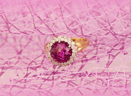 jewelle: Jewelry accessories - ring with ruby Stock Photo