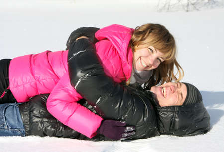 Young loving couple on appointment on the nature, winter season Stock Photo - 18359564