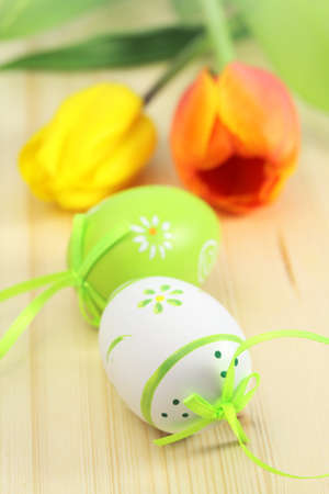 Easter eggs, flowers  and decor for holiday photo
