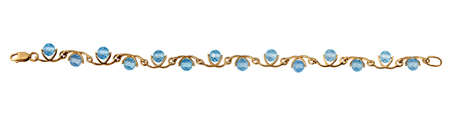 jewelle: Golden jewelry  bracelet with blue topaz isolated on white background