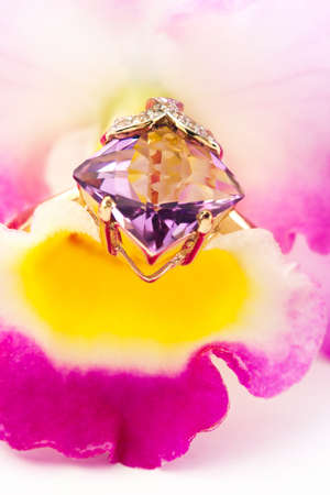 jewelle:  Golden amethyst ring with brilliants on flower orchid