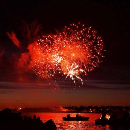 Celebratory bright firework in a night sky Stock Photo - 19496649
