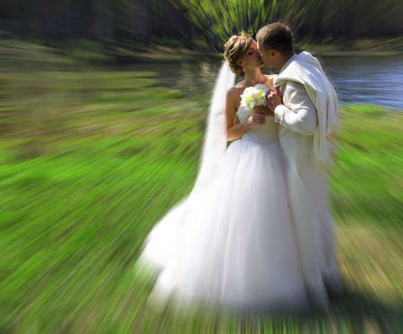 Bride and groom in wedding spring day