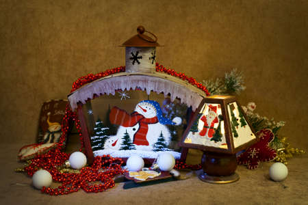 Christmas home decorations - Candlesticks and snow