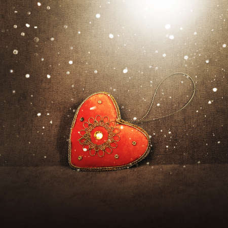 Christmas decor - red vintage heart and magic light