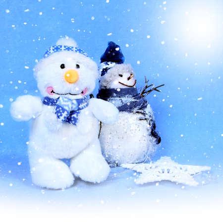 Christmas snowman for design xmas cards Standard-Bild