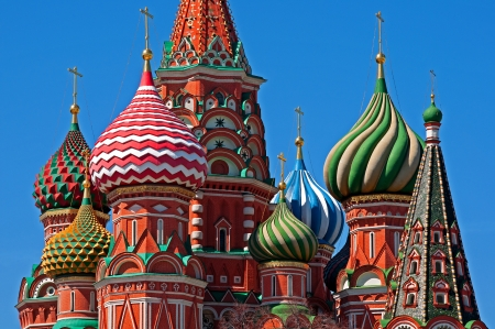 Moscow Saint Basil Cathedral cupola close up photo