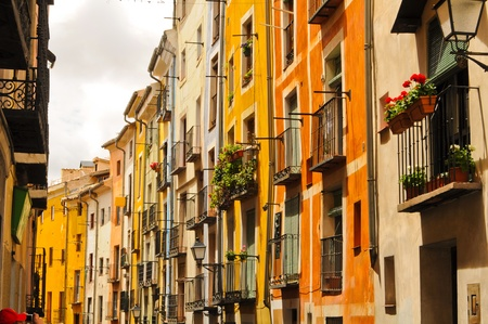 cuenca: Cuenca multicolored colorful street houses Stock Photo