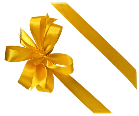 yellow ribbon: yellow ribbon bow on a gift isolated on white