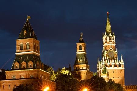 spasskaya: Spasskaya tower, Kremlin wall and Red Square at night