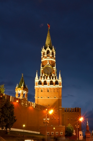 Spasskaya tower at night photo