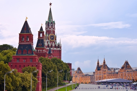 spasskaya: Spasskaya tower, Kremlin wall and Red Square at twillight