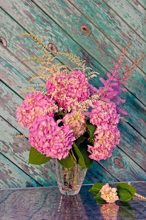 pink hydrangea and astilbe still life bouquet photo