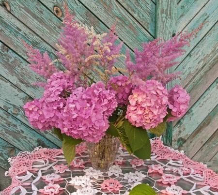 still life bouquet pink hydrangea and astilba photo