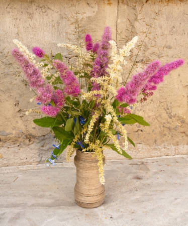still life bouquet of astilbe and meadowsweet photo