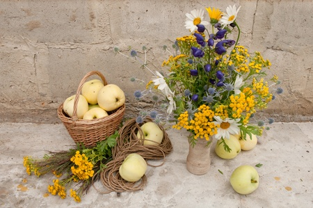 still life bouquet of whild flowers and white transparent apples photo