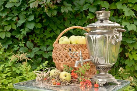 still life with samovar and apples photo
