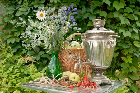 still life with samovar, bouquet and apples photo
