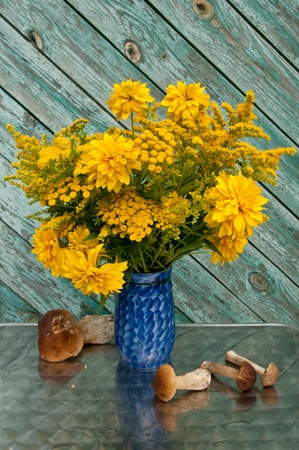 still life bouquet of yellow flowers and boletus edulis mushrooms photo