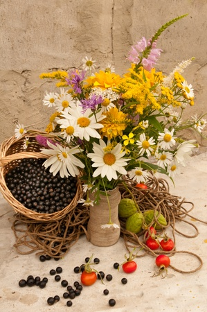black currants: still life bright yellow flowers bouquet and black currants Stock Photo