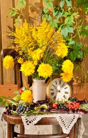Yellow flowers bouquet still life photo